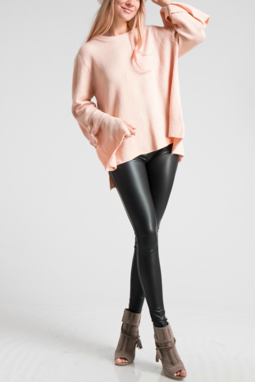 LoveRiche Bell Sleeve Pink Sweater - Front Cropped Image