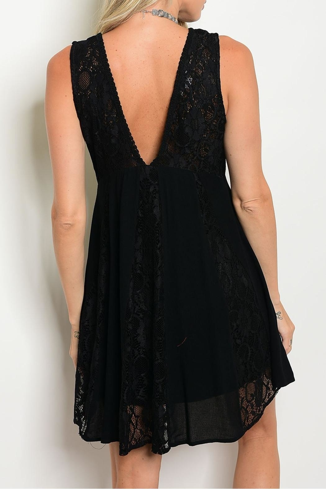 LoveRiche Black Lace Dress - Front Full Image