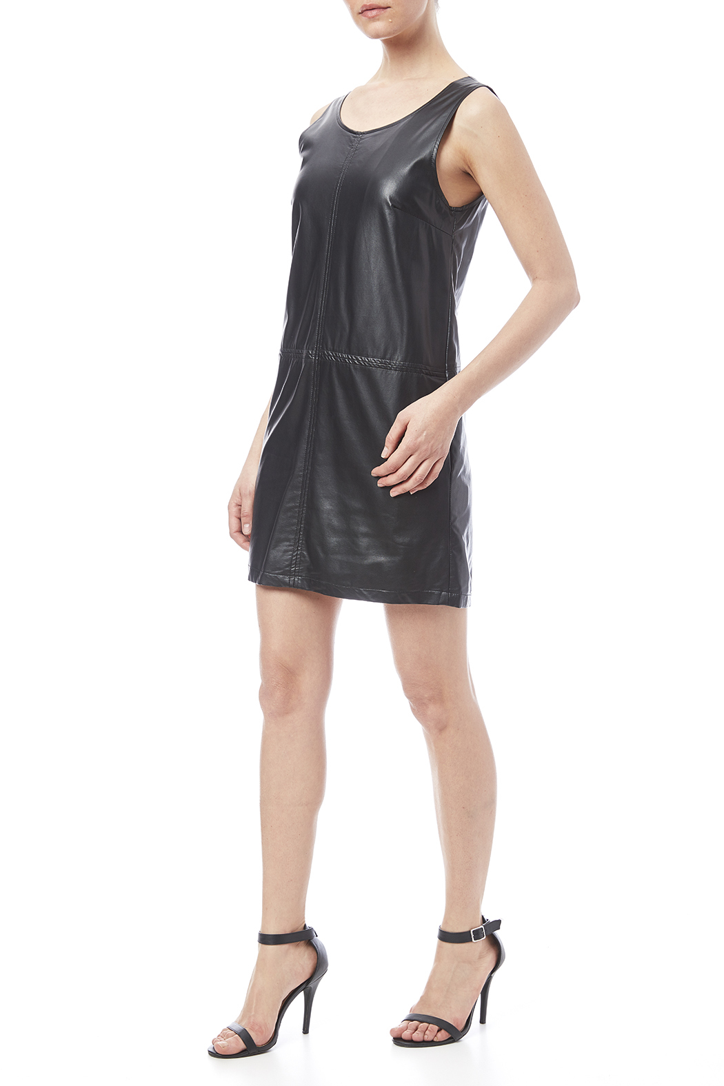 LoveRiche Black Faux Leather Dress - Front Full Image