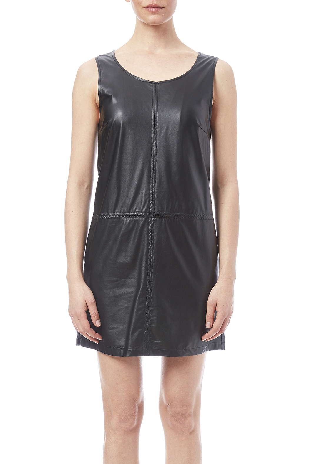 LoveRiche Black Faux Leather Dress - Side Cropped Image