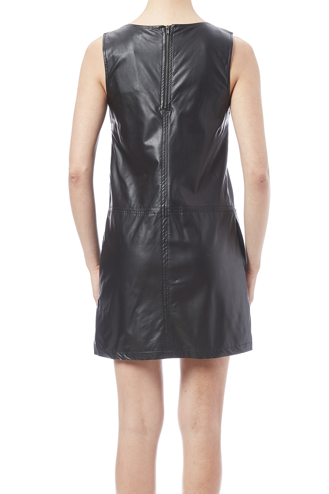 LoveRiche Black Faux Leather Dress - Back Cropped Image