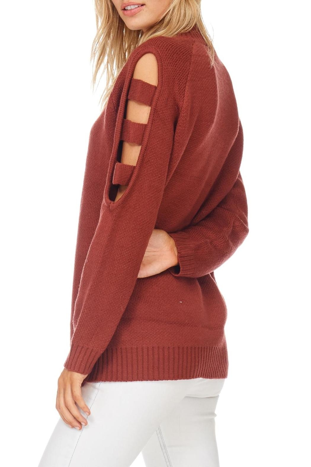 LoveRiche Brick Ladder Sleeve Sweater - Side Cropped Image