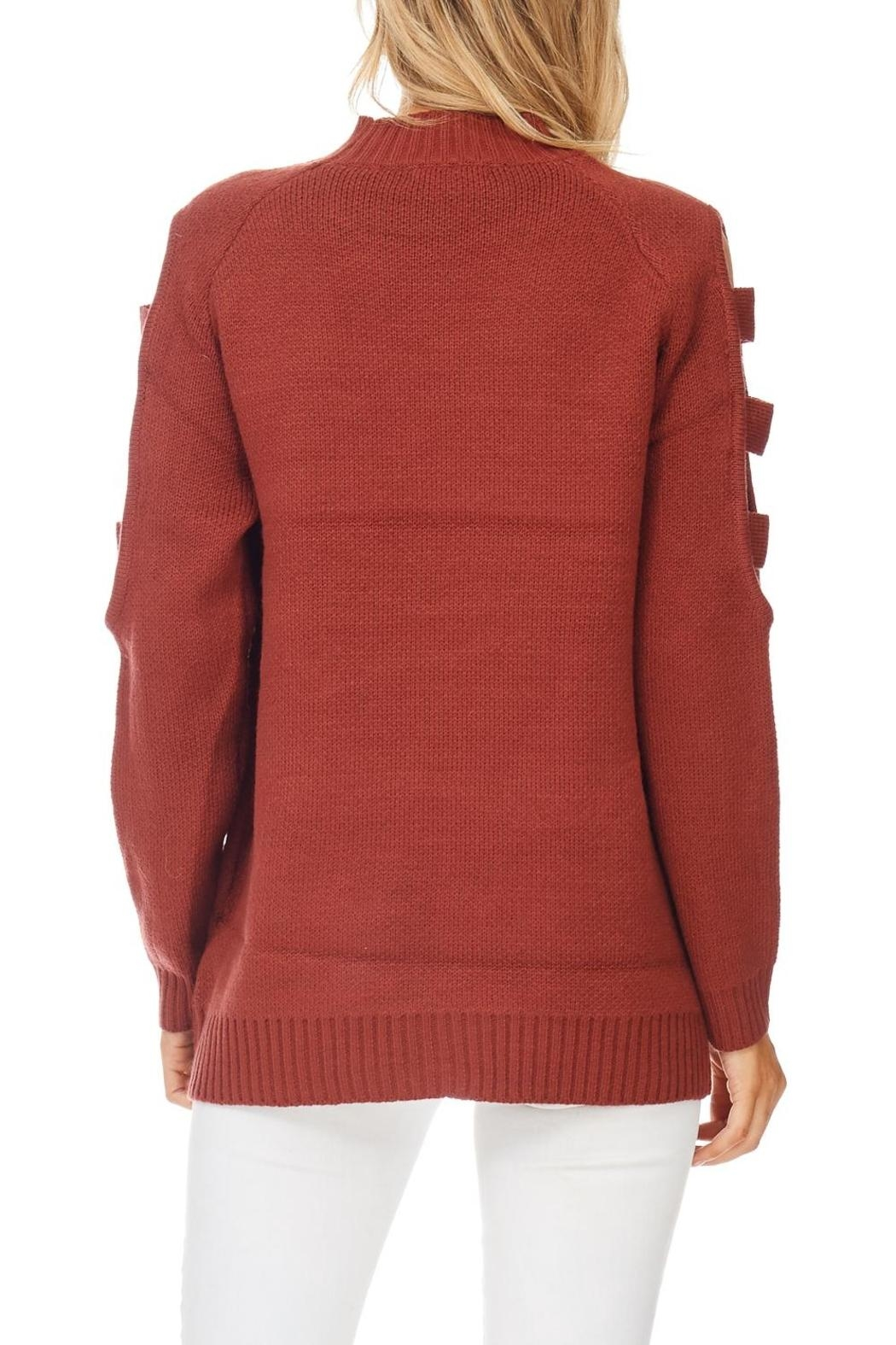 LoveRiche Brick Ladder Sleeve Sweater - Back Cropped Image