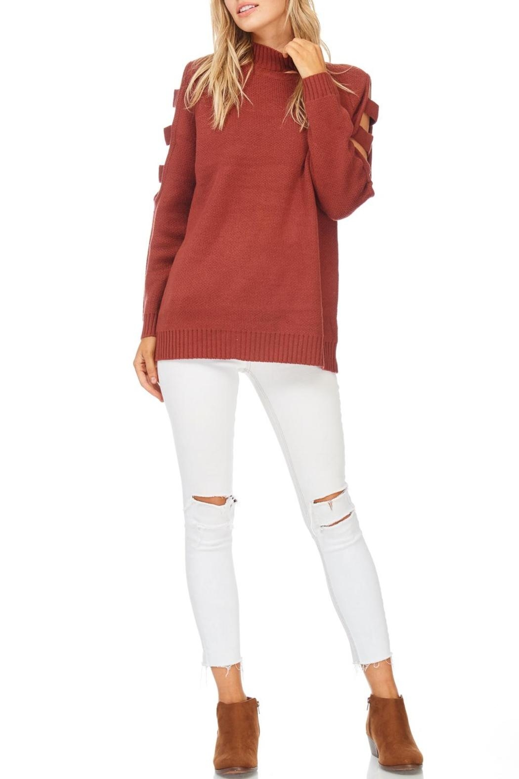 LoveRiche Brick Ladder Sleeve Sweater - Front Cropped Image
