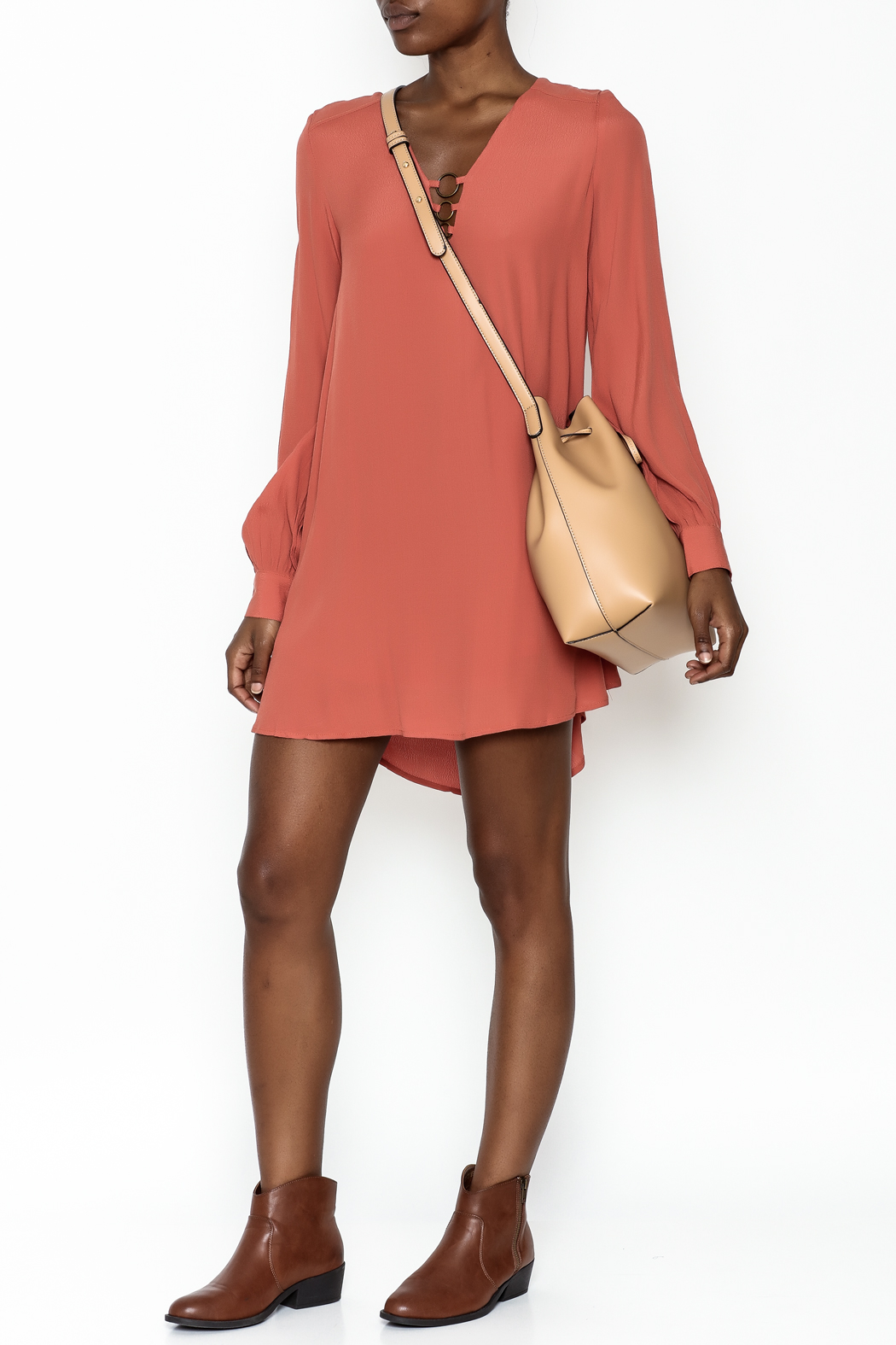 LoveRiche Burnt Orange Dress - Side Cropped Image