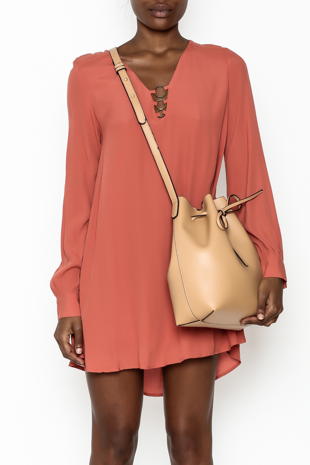 LoveRiche Burnt Orange Dress - Front Full Image