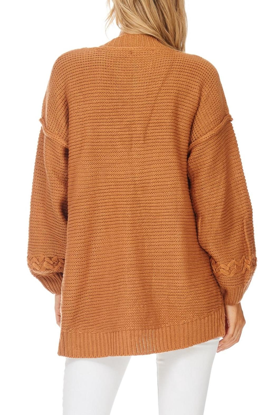LoveRiche Camel Boyfriend Cardigan - Side Cropped Image