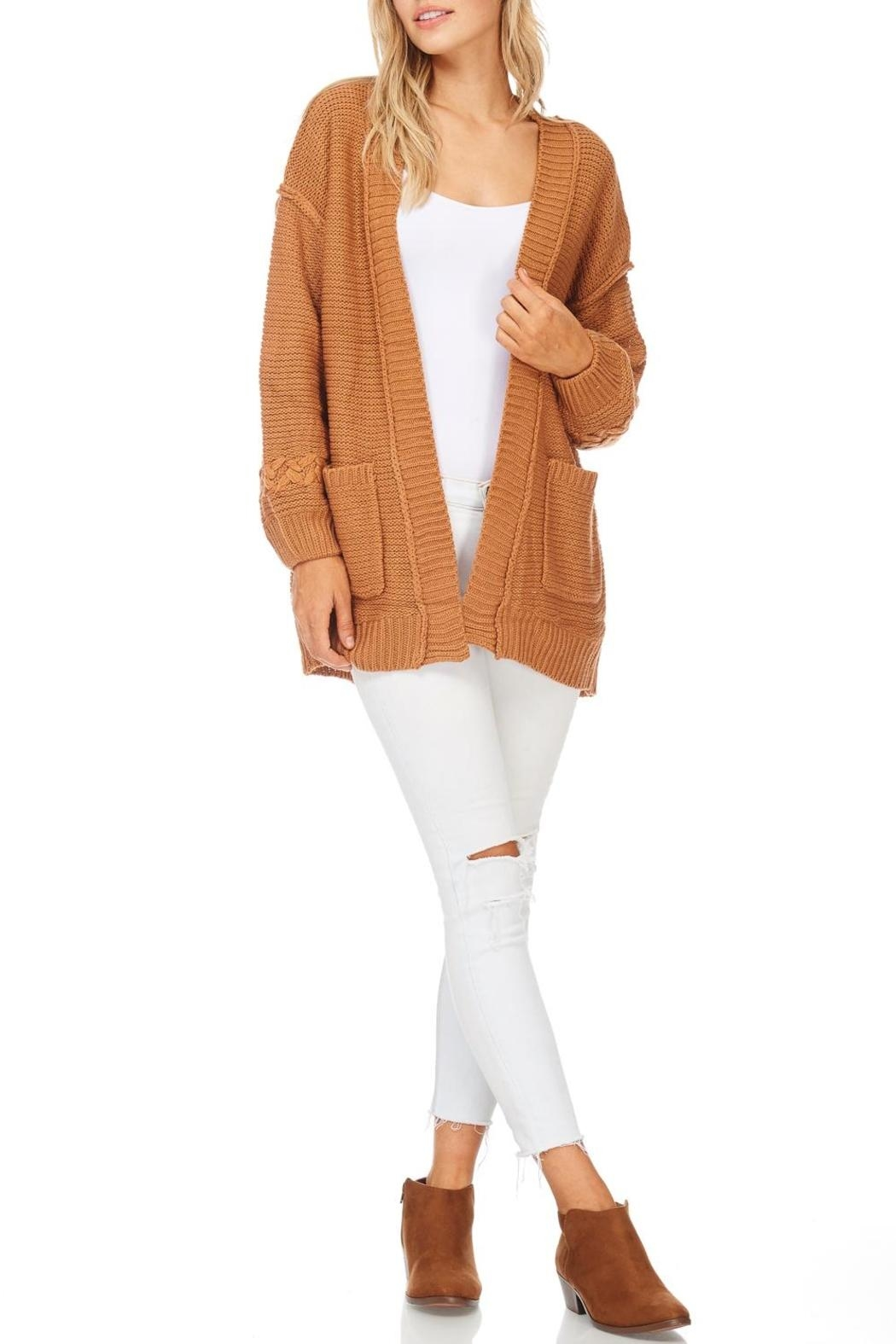 LoveRiche Camel Boyfriend Cardigan - Front Cropped Image