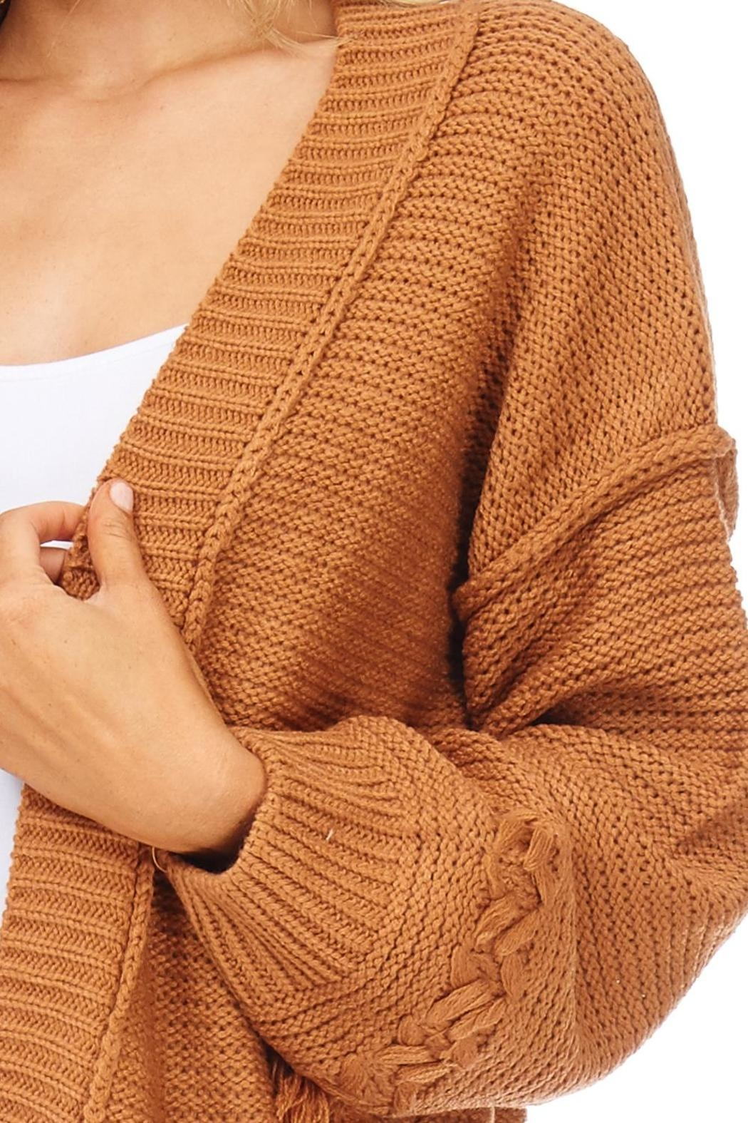 LoveRiche Camel Boyfriend Cardigan - Back Cropped Image