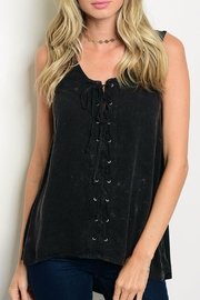 LoveRiche Charcoal Lace-Up Top - Product Mini Image