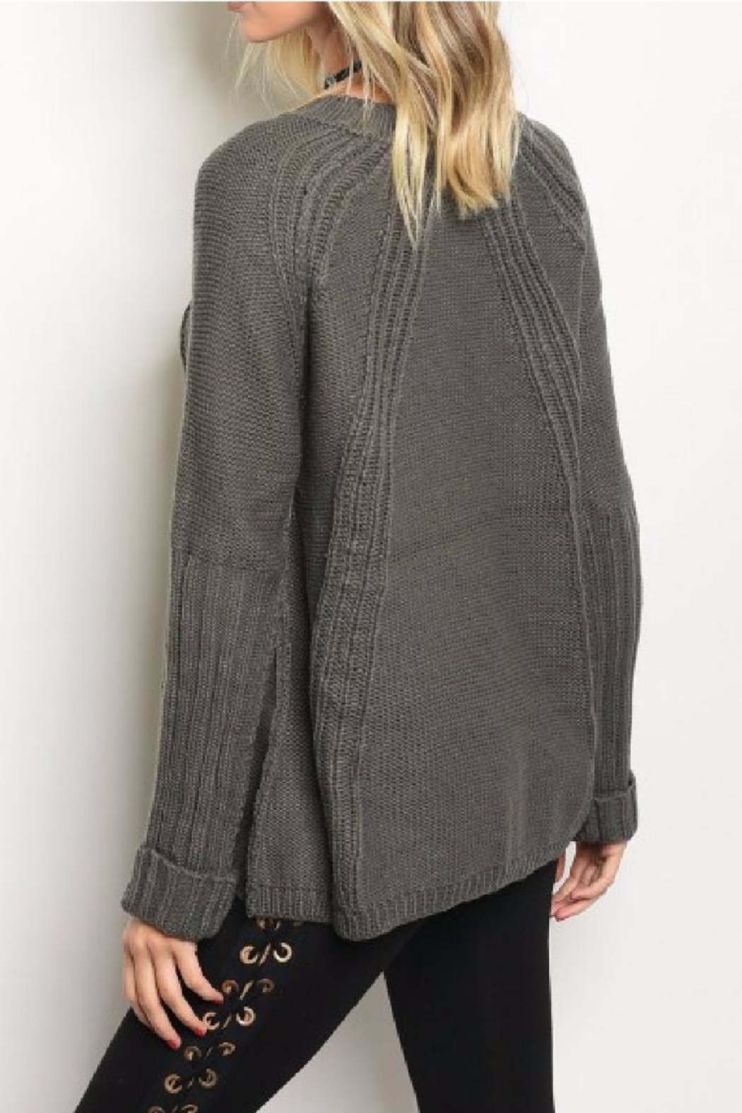LoveRiche Chunky Knit Sweater - Front Full Image