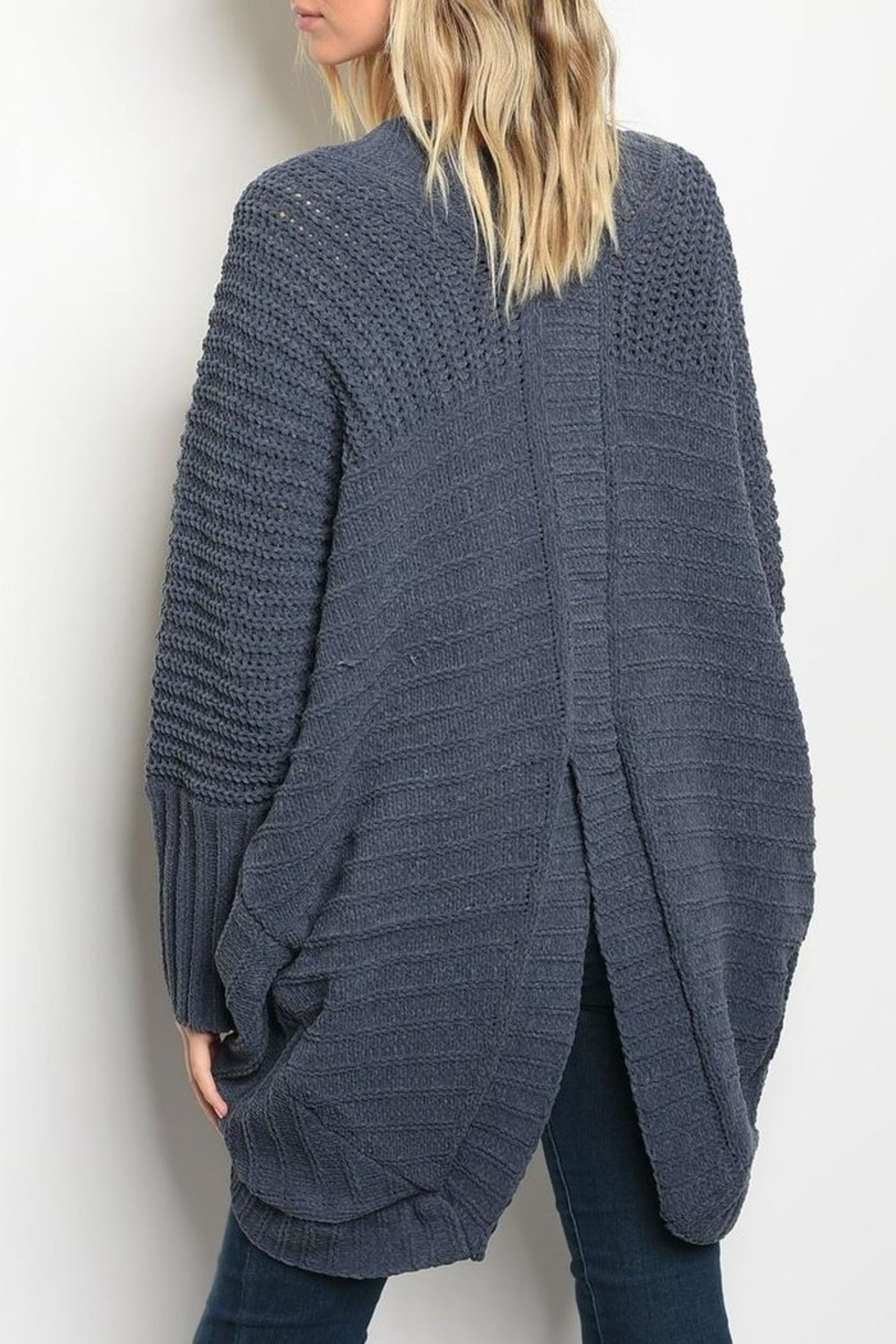 LoveRiche Chunky Navy Cardigan - Front Full Image
