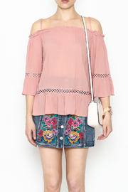 LoveRiche Cold Shoulder Pink Top - Front full body