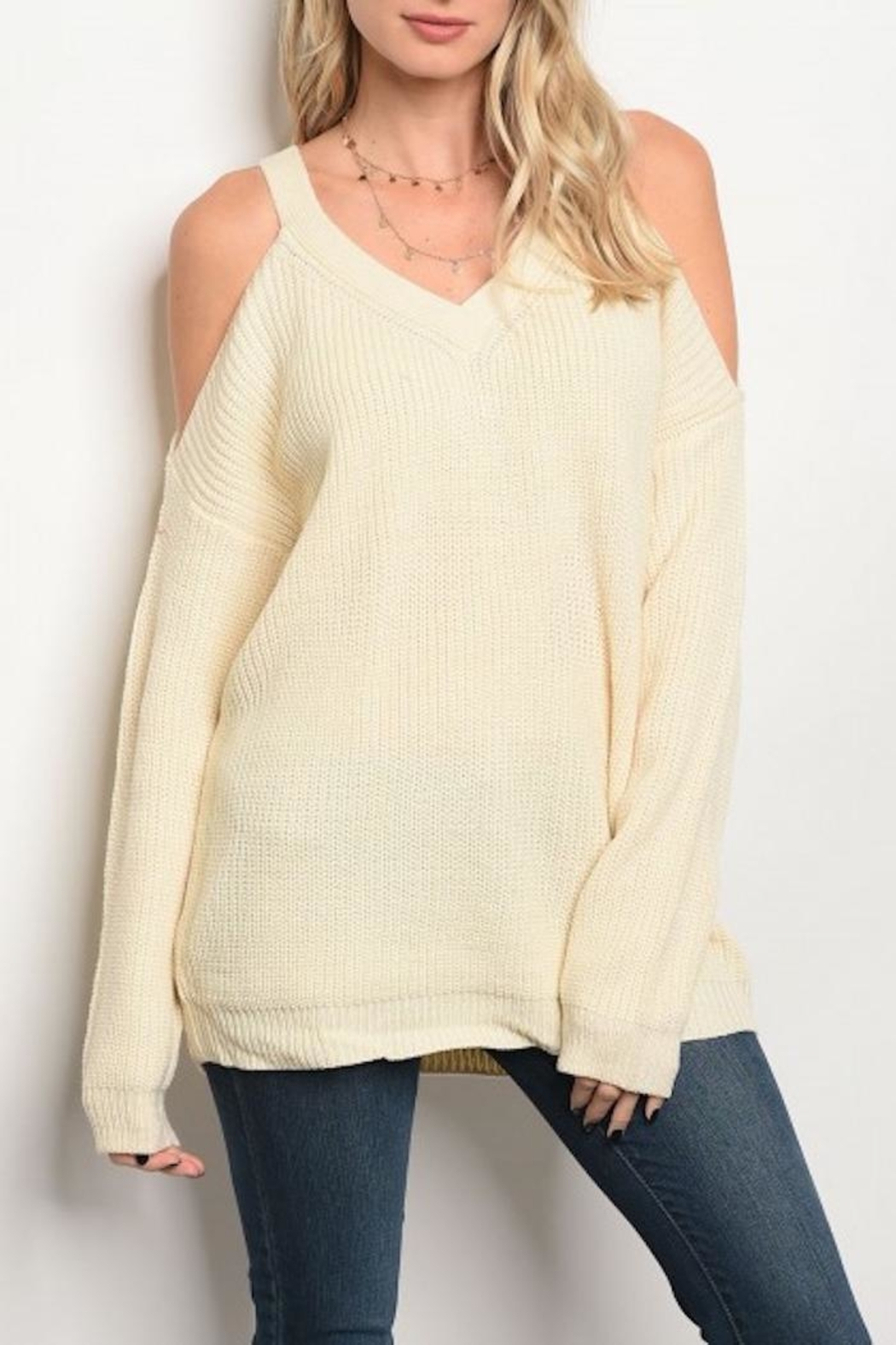LoveRiche Cold Shoulder Sweater - Main Image