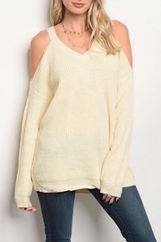 LoveRiche Cold Shoulder Sweater - Front cropped