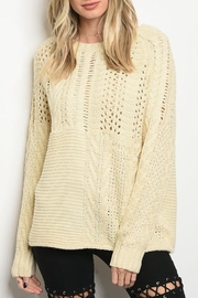 LoveRiche Cream Knit Sweater - Product Mini Image