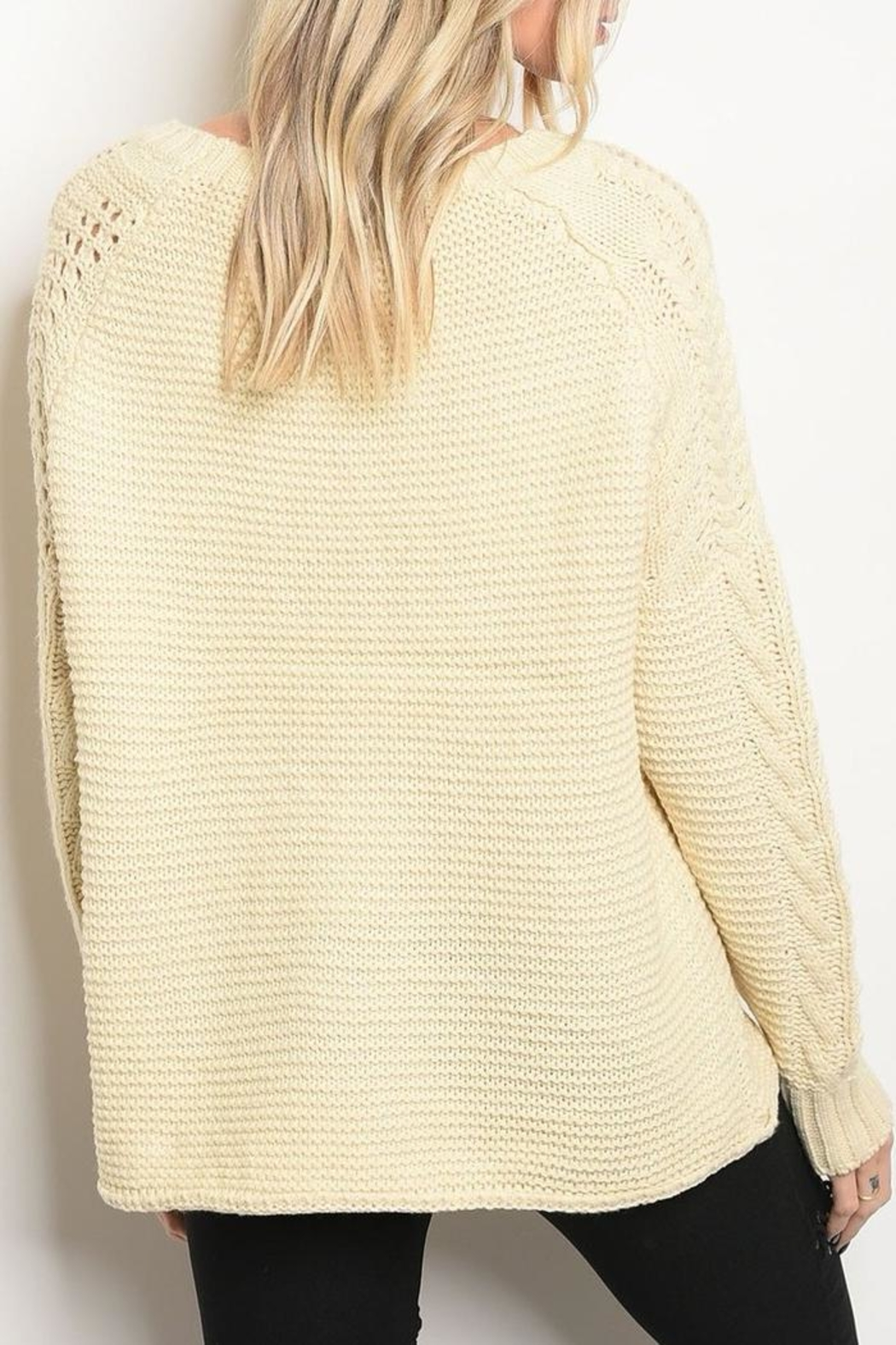LoveRiche Cream Knit Sweater - Front Full Image