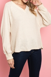 LoveRiche Cream Raw-Seam Top - Product Mini Image