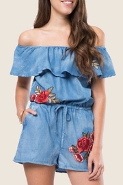 LoveRiche Denim Floral Romper - Product Mini Image