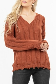 LoveRiche Distressed Knit Sweater - Product Mini Image
