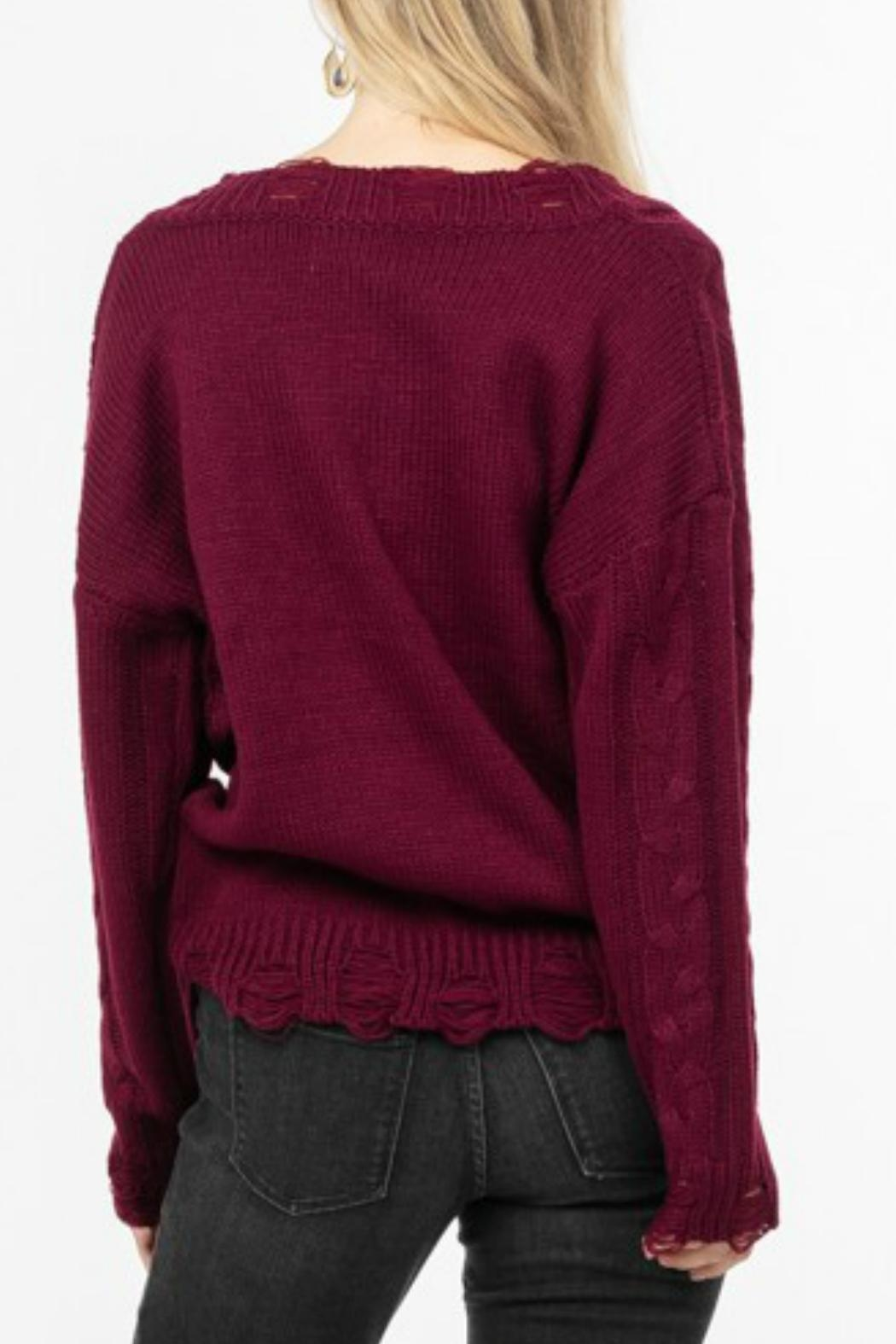 LoveRiche Distressed Knit Sweater - Front Full Image