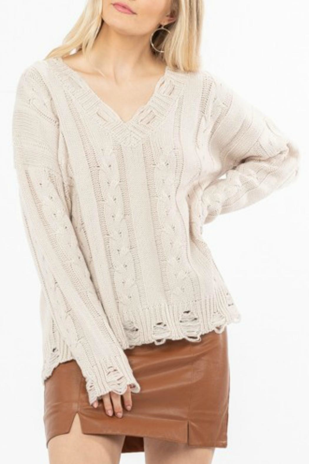 LoveRiche Distressed Knit Sweater - Front Cropped Image