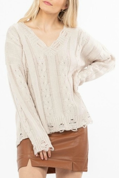 LoveRiche Distressed Knit Sweater - Product List Image