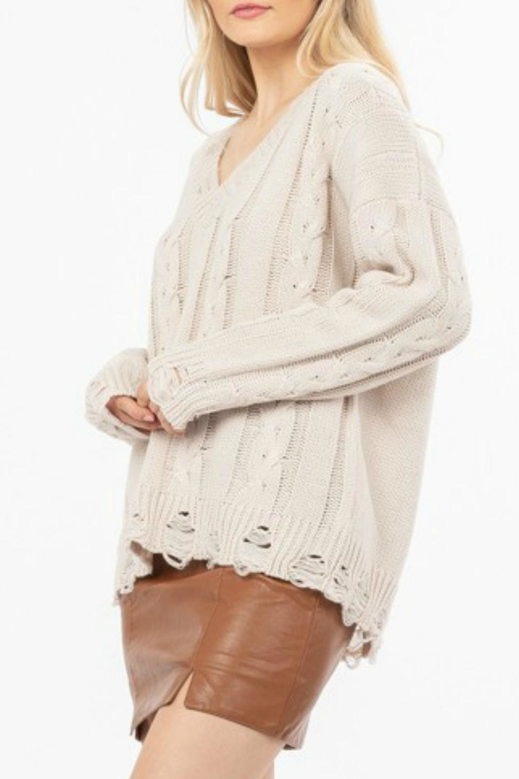LoveRiche Distressed Knit Sweater - Side Cropped Image