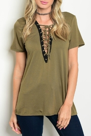 LoveRiche Evelyn Olive Lace Up Top - Product Mini Image