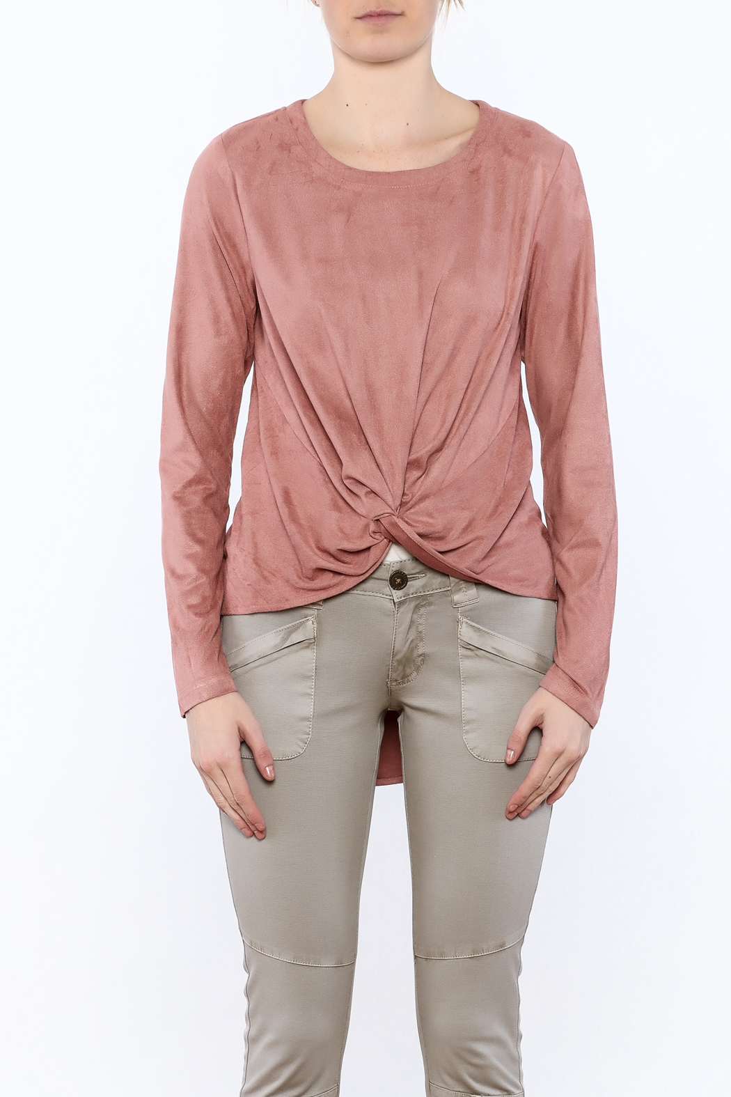 LoveRiche Blush Faux Suede Top - Side Cropped Image