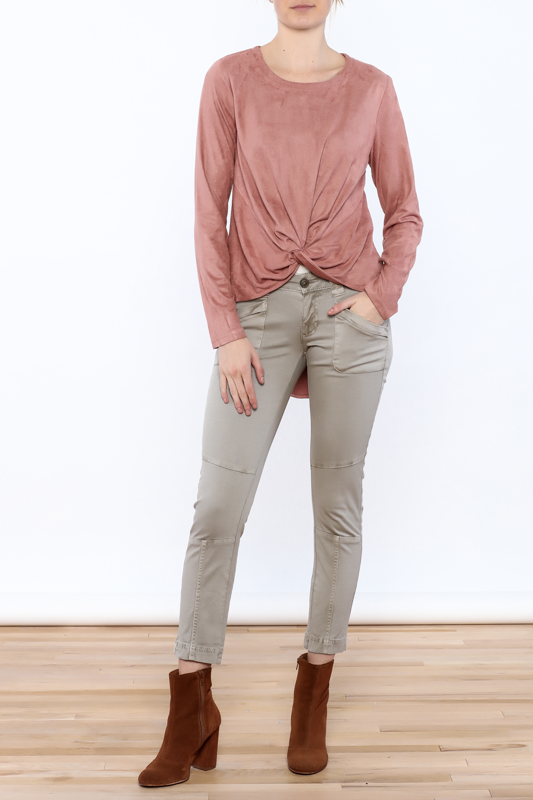 LoveRiche Blush Faux Suede Top - Front Full Image