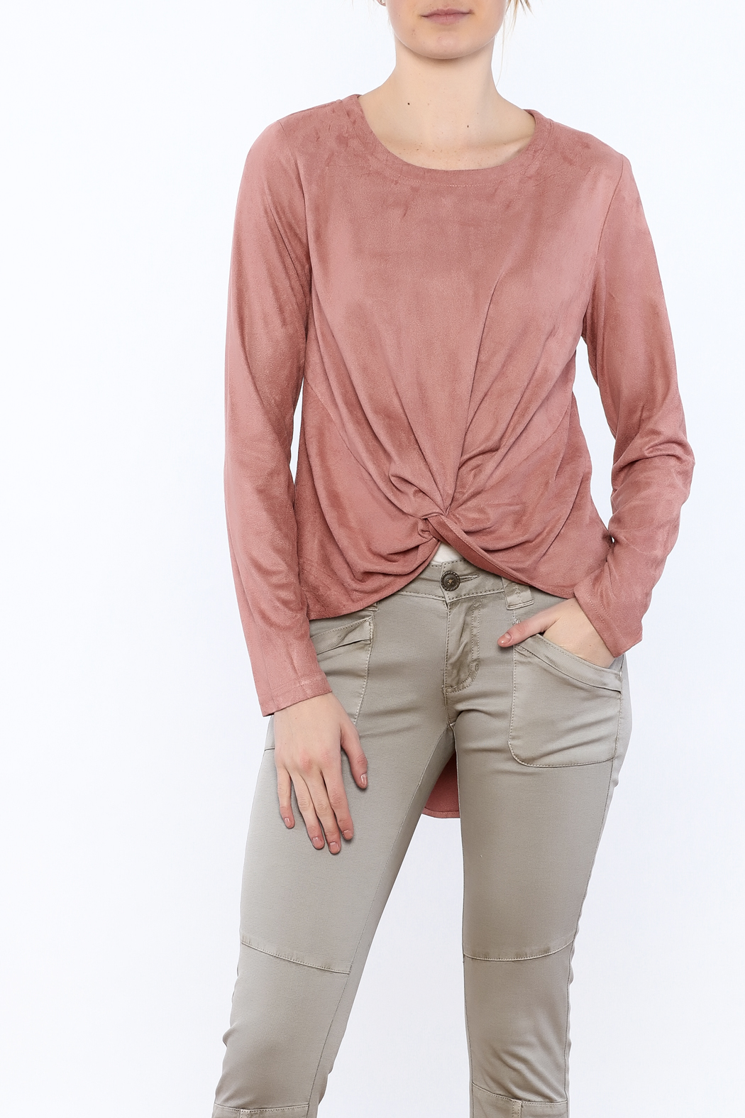 LoveRiche Blush Faux Suede Top - Main Image