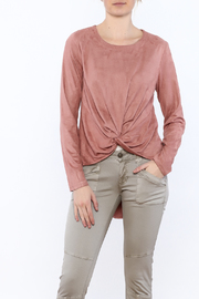 LoveRiche Blush Faux Suede Top - Front cropped
