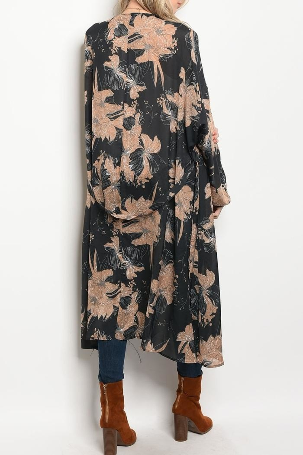 LoveRiche Floral Long Kimono - Front Full Image