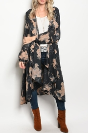 LoveRiche Floral Long Kimono - Front cropped