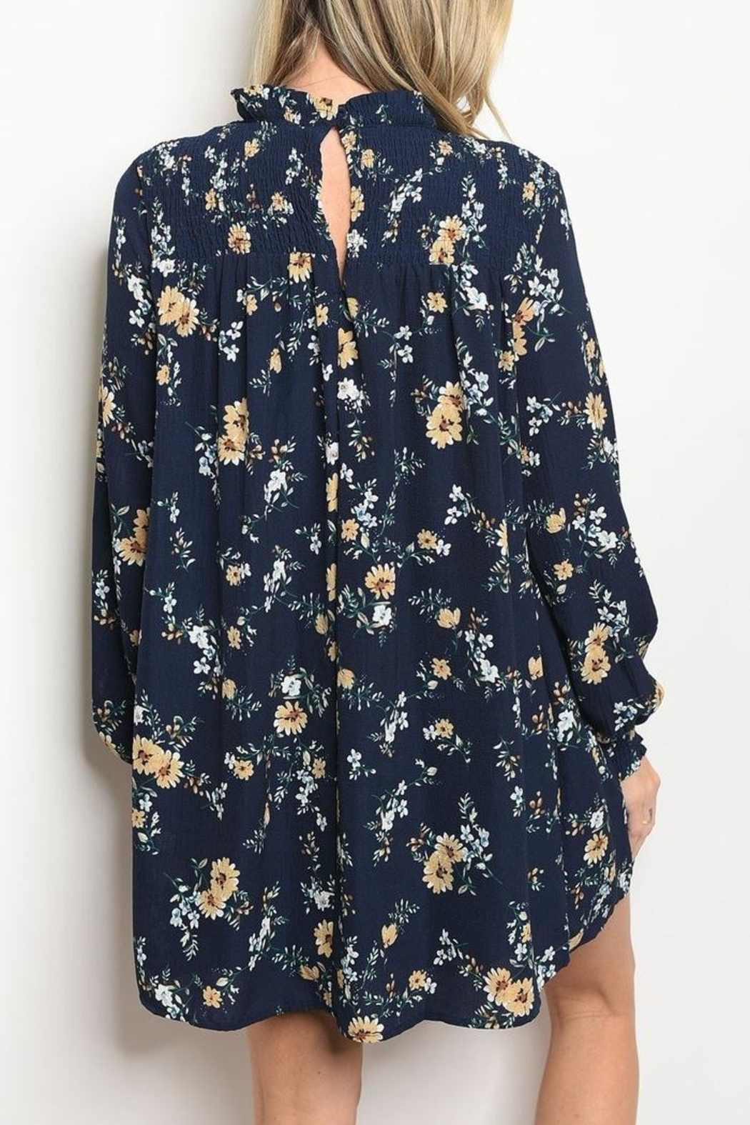 LoveRiche Floral Navy Dress - Front Full Image