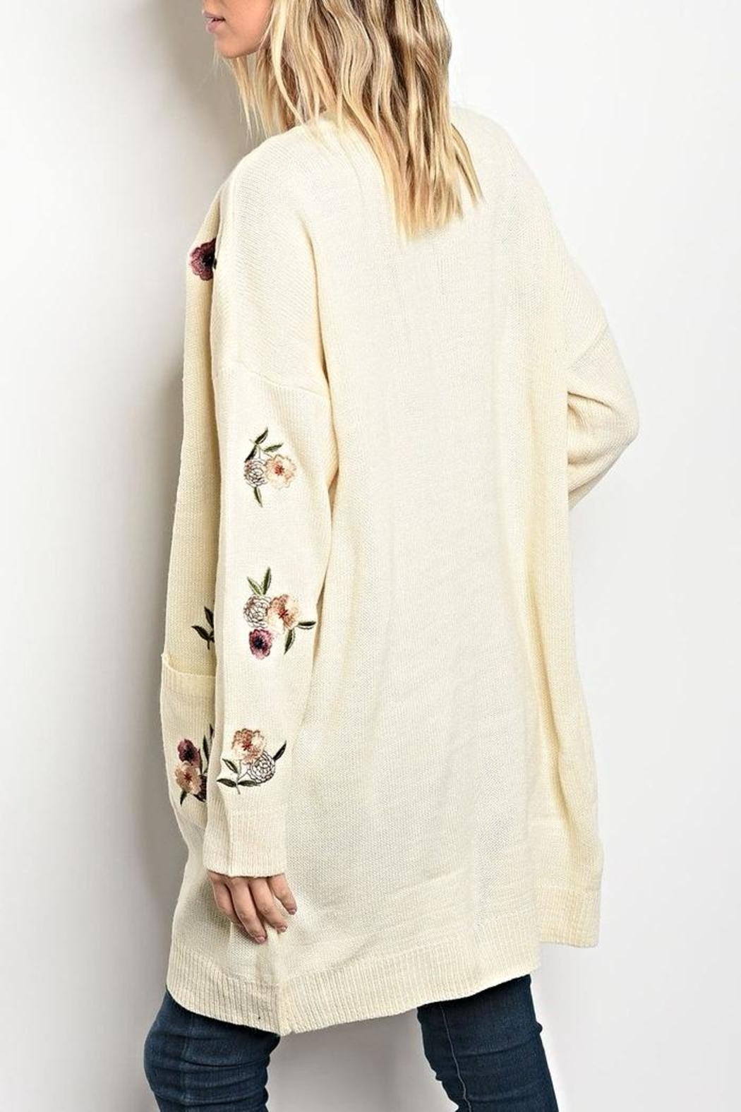 LoveRiche Floral Sweater Cardigan - Front Full Image