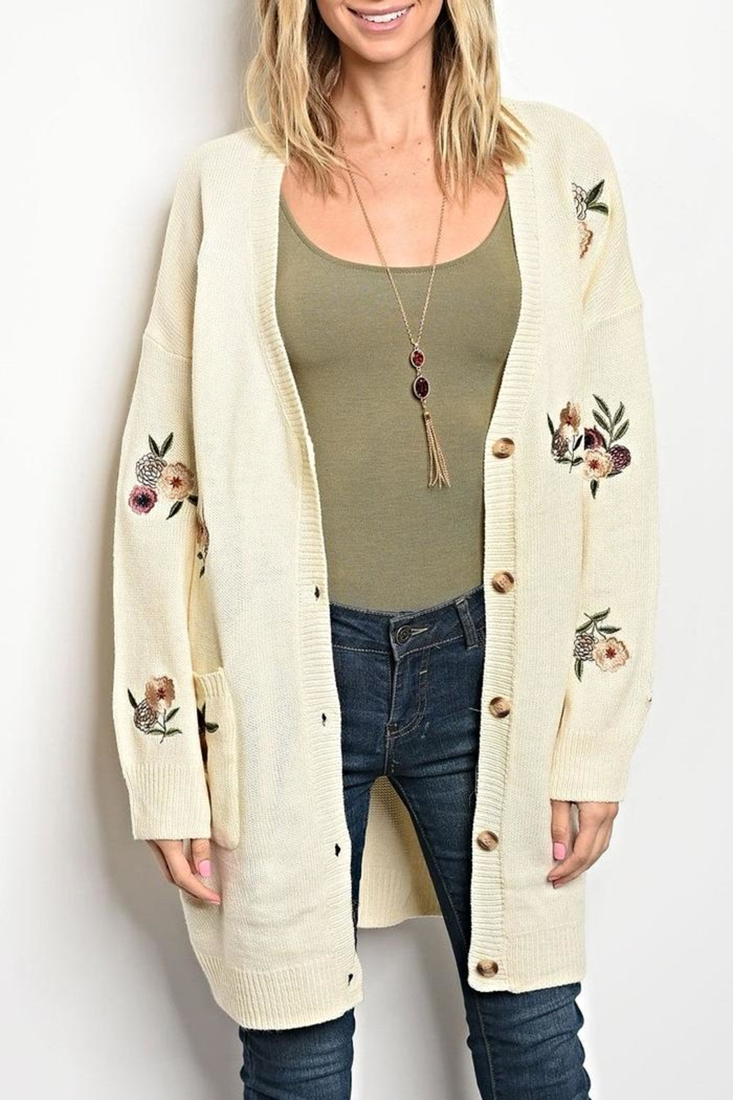 LoveRiche Floral Sweater Cardigan - Main Image