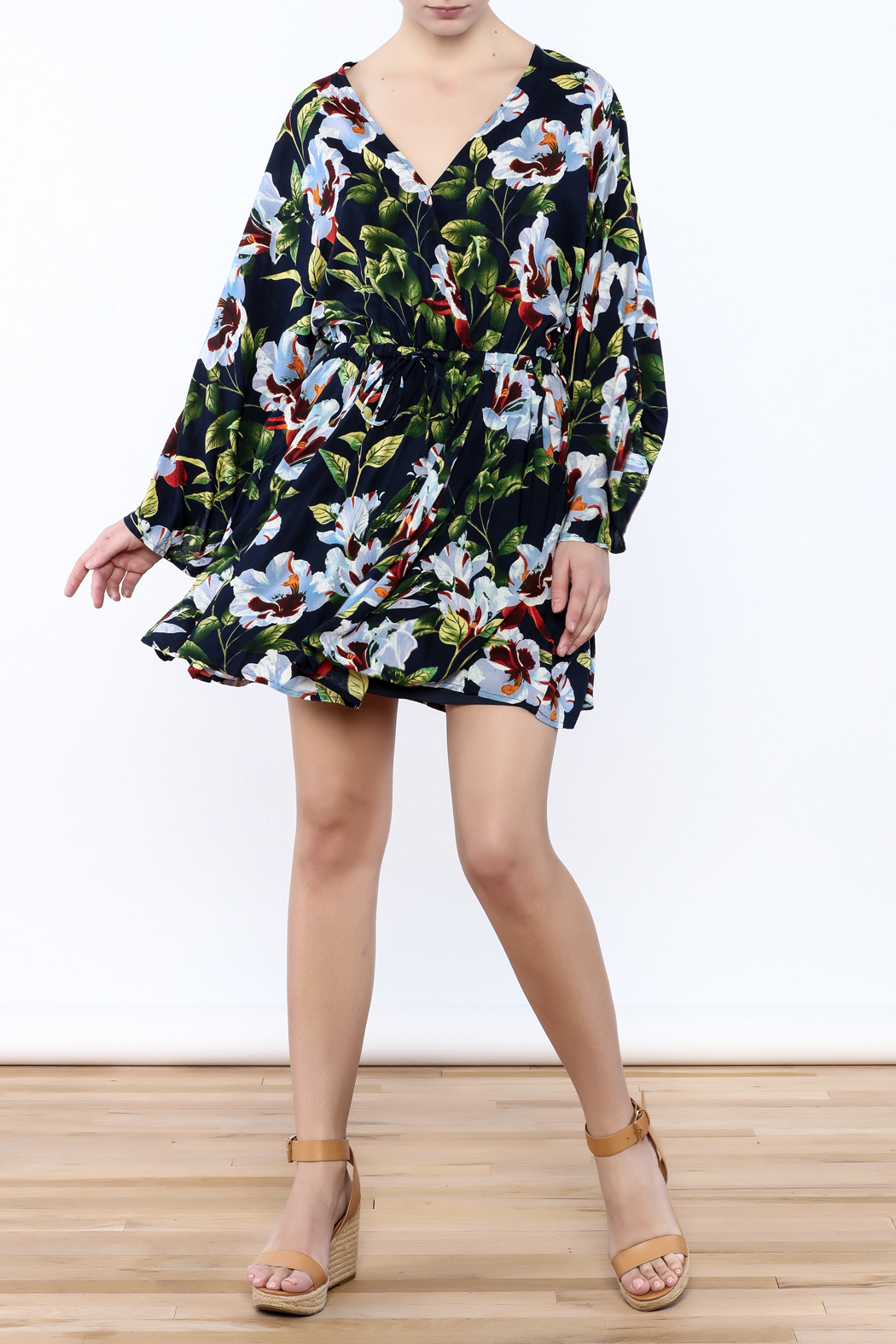LoveRiche Floral Wrap Dress - Front Full Image