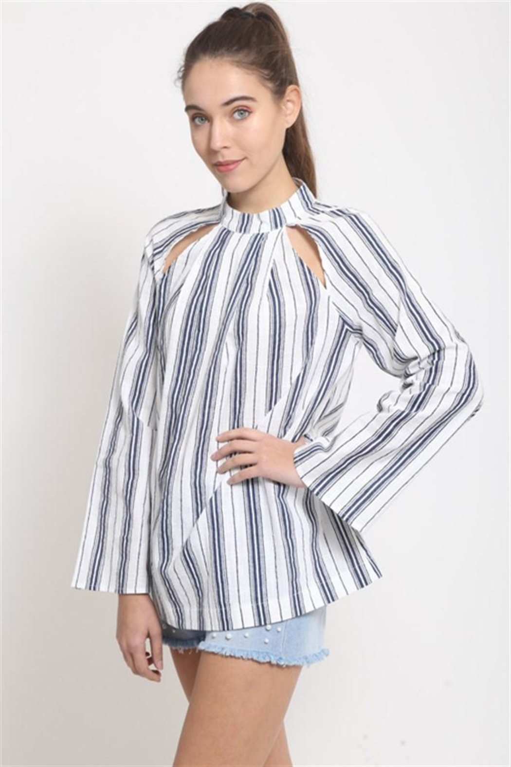 LoveRiche Front Cutout Blouse - Front Full Image