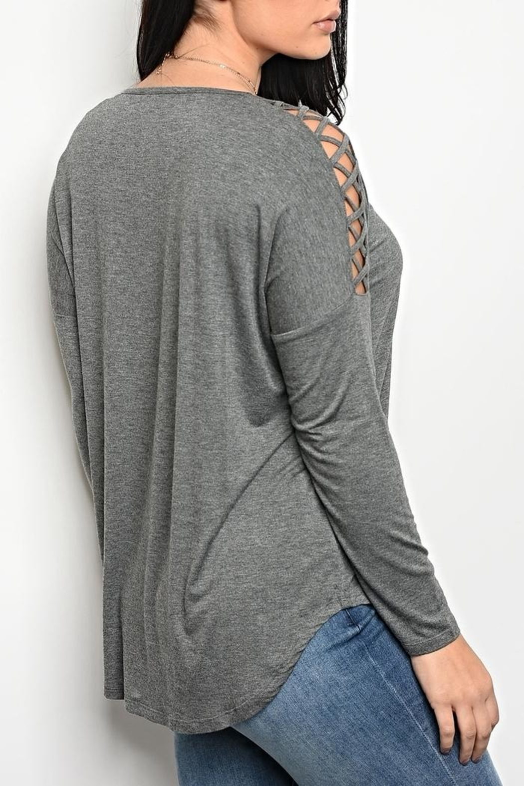 LoveRiche Grey Laceup Tee - Front Full Image
