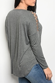 LoveRiche Grey Laceup Tee - Front full body