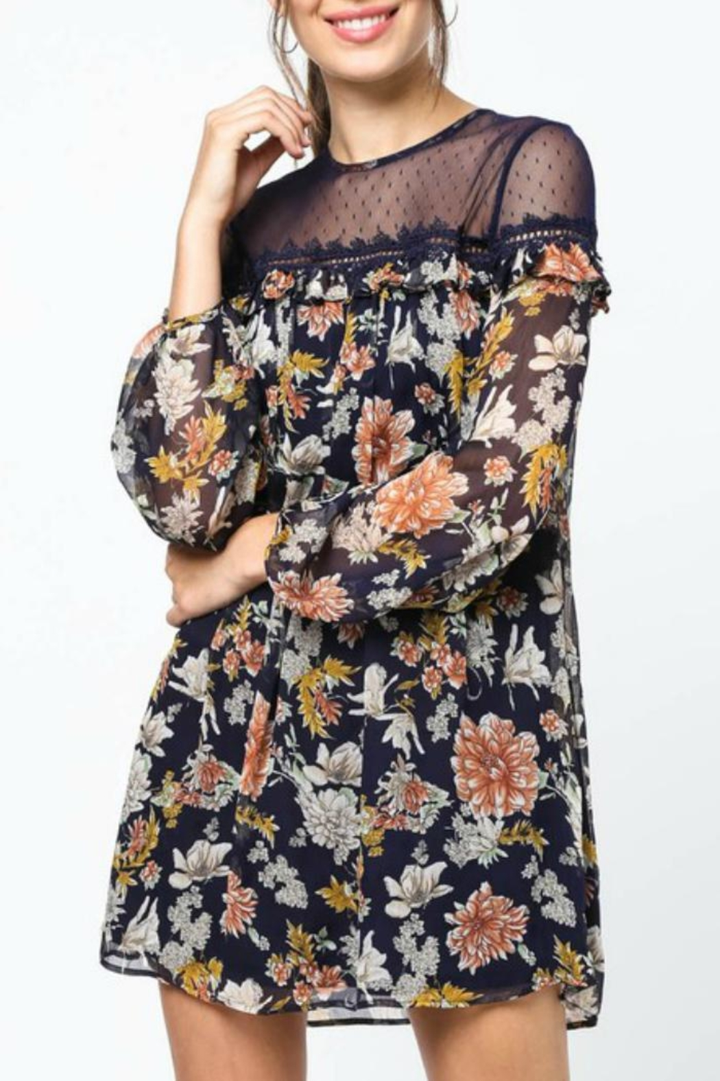 LoveRiche Lace-Capped Floral Dress - Front Full Image