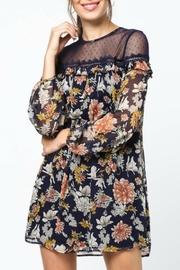 LoveRiche Lace-Capped Floral Dress - Front full body