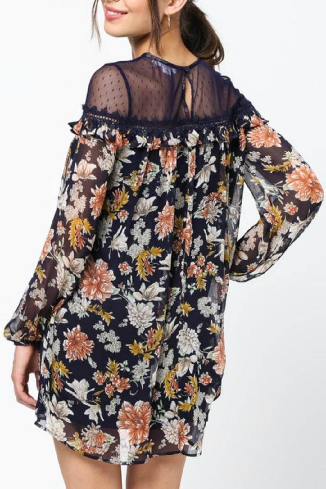 LoveRiche Lace-Capped Floral Dress - Back Cropped Image