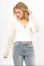 LoveRiche Lace Sleeve Top - Front cropped