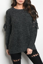 LoveRiche Lace Up Sweater - Product Mini Image