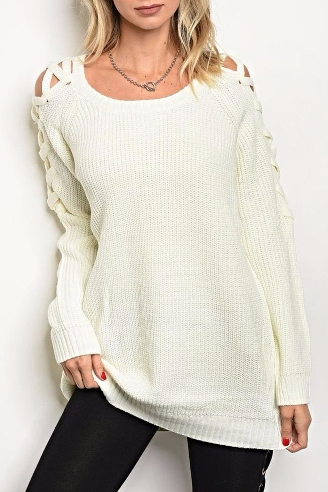 LoveRiche Lace Up Sweater - Main Image