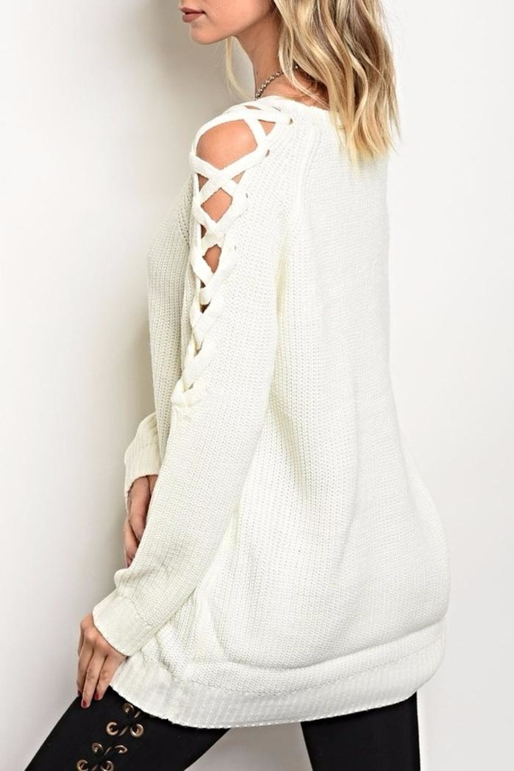 LoveRiche Lace Up Sweater - Front Full Image