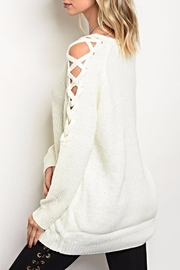 LoveRiche Lace Up Sweater - Front full body